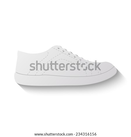 sneakers vector icon - paper illustration - stock vector