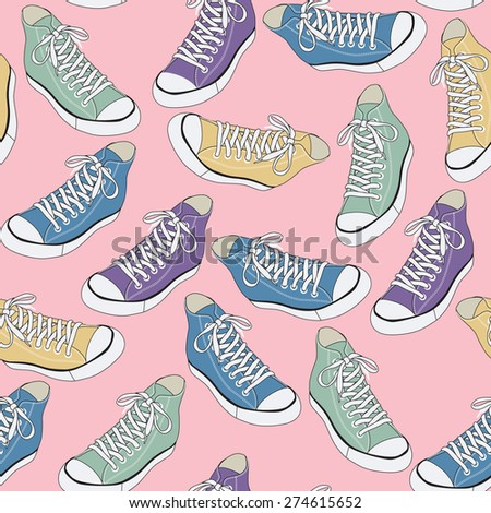 Sneakers vector seamless pattern  - stock vector
