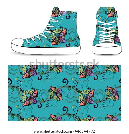 Sneakers with seamless flower pattern, vector illustration isolated on white background. - stock vector