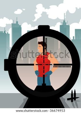 sniper preparing to fire - stock vector