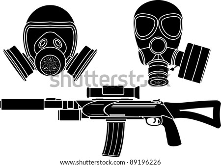 sniper rifle and gas masks. stencil. vector illustration - stock vector