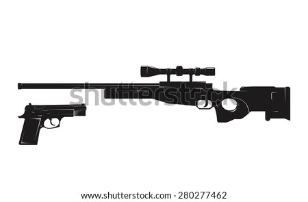 sniper rifle silhouette - stock vector