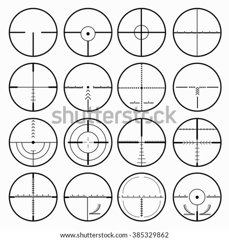 sniper scopes monochrome collection of icons