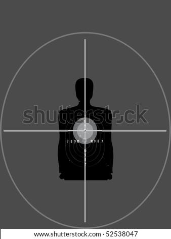sniper shutting target - stock vector