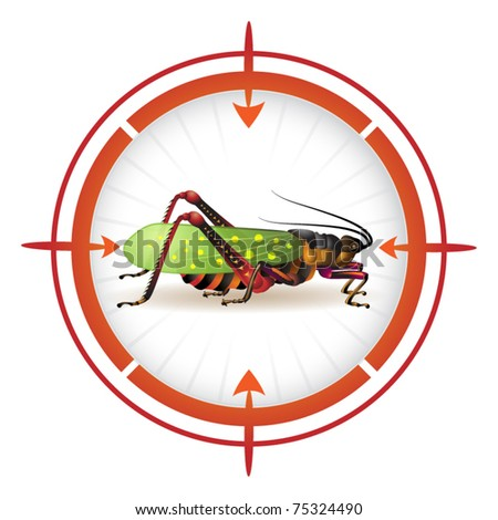 Sniper target with grasshopper - stock vector