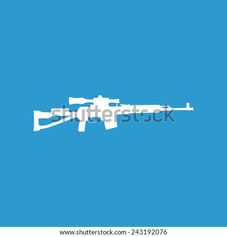 sniper weapon icon, isolated, white on the blue background. Exclusive Symbols  - stock vector