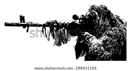 Sniper with camouflage suit on white background - stock vector