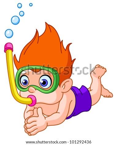 Snorkeling kid - stock vector