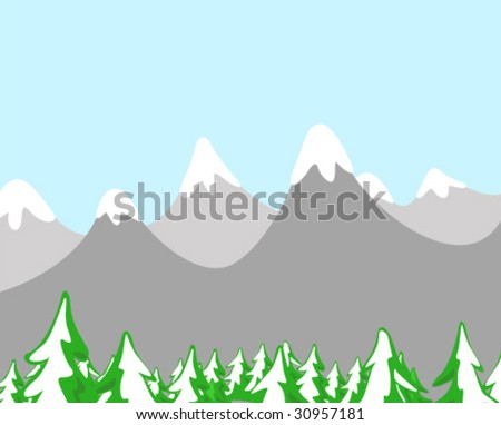 Snow Capped Mountain Landscape - Vector Illustration