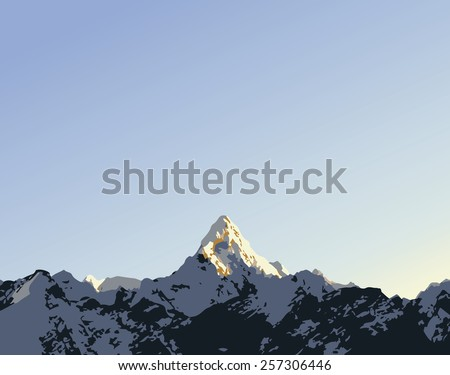 Snow capped mountain peak Ama Dablam in the Himalaya, Nepal in vector style with copy space in sky  - stock vector