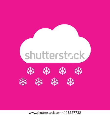 Snow cloud winter icon vector. Pink background - stock vector