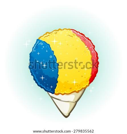 Snow Cone Cartoon Illustration - stock vector