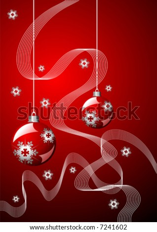 Snow crystals ribbons and Christmas balls over red