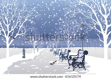 Snow falling in city park - stock vector