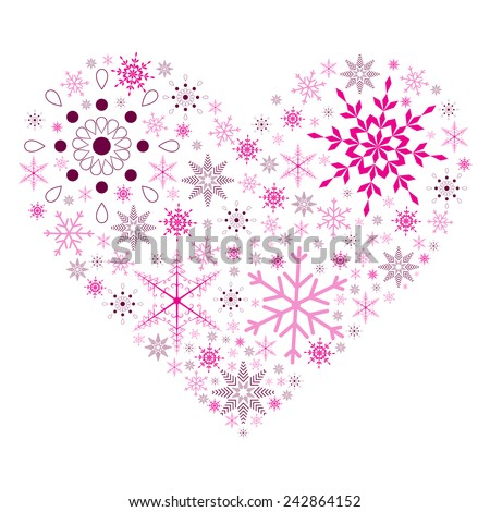 Snow Flake Heart - stock vector