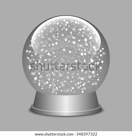 Snow globe. Christmas snow globe. Glass sphere. Transparent ball. Realistic vector. 3d vector. Vector illustration.