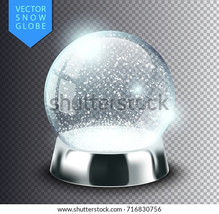 Snow globe empty template isolated on transparent background. Christmas magic ball. Realistic Xmas snowglobe vector illustration. Winter in glass ball, crystal dome icon snowflake and silver stand.