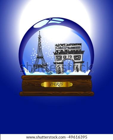 Snow-Globe Paris - stock vector