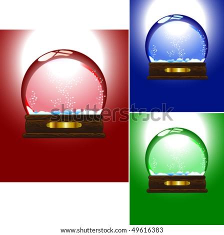 Snow-Globe Set - stock vector