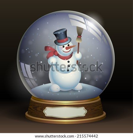 Snow globe with a snowman - stock vector