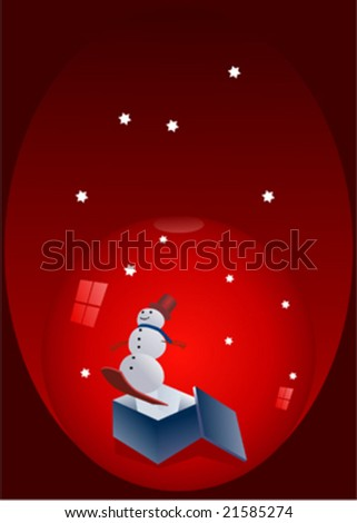 Snow globe with snowman and open box - stock vector