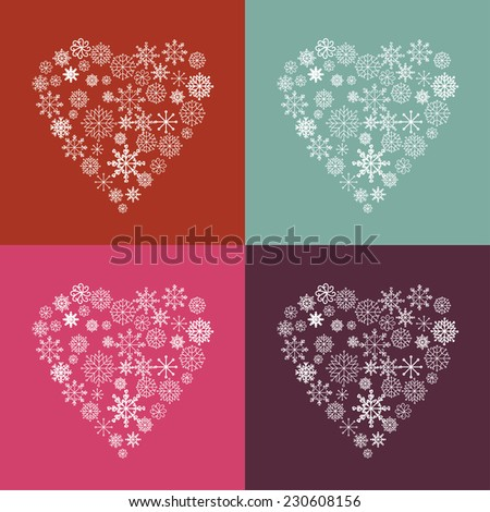 snow heart set - stock vector