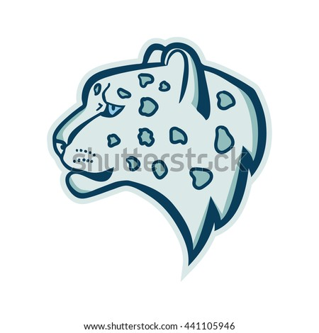 snow leopard head isolated vector illustration
