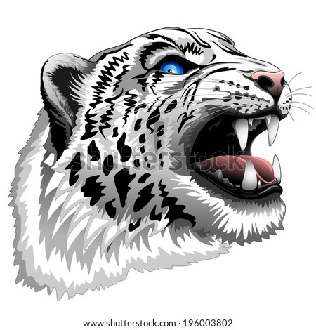 Snow Leopard Roar - stock vector