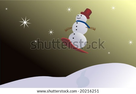 Snow man jumping on ski with stars - stock vector