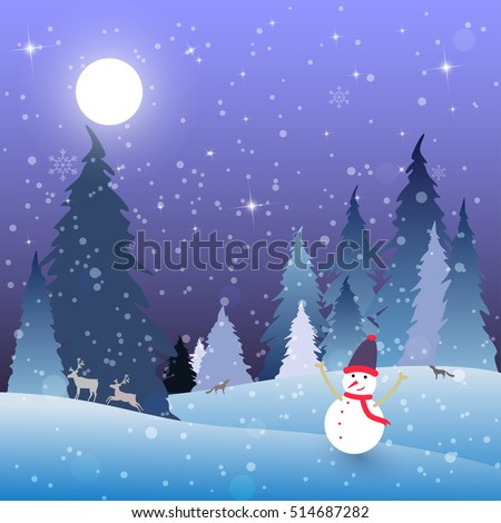 Snow man with night scene winter landscape with full moon on a starry sky in forest and snow. Night blue background. Reindeer, foxes and wolves. Vector Illustration.