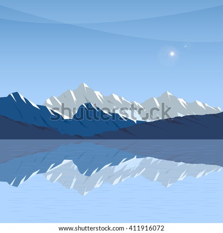 snow mountain,  Mountain silhouette,  background mountains - stock vector