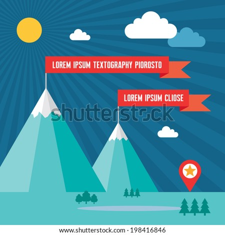 Snow Mountains with Red Flags in Flat Design Style for presentation, booklet, website and other creative projects. - stock vector