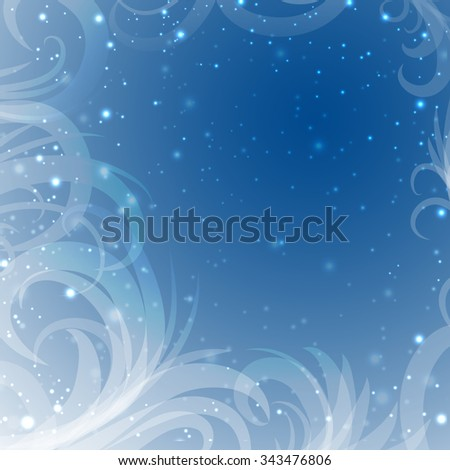 snow patterns on a blue background with shine, vector