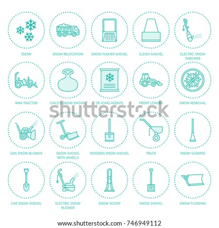 Snow Removal Flat Line Icons Ice Stock Vector 746949112 Shutterstock
