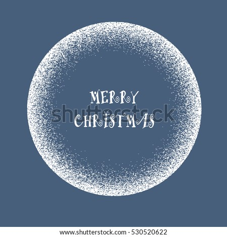 Snow round frame of splash texture. Winter banner - round shape. New Year, Christmas design template. Vector illustration
