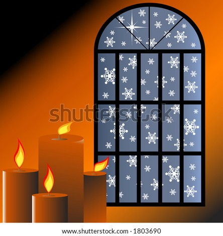 snow through a window with candles burning inside - stock vector
