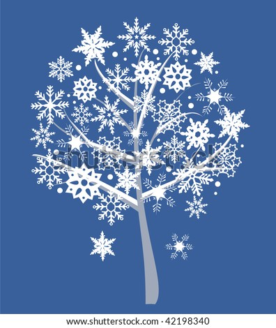 snow tree - stock vector