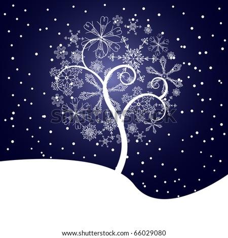 snow tree vector - stock vector