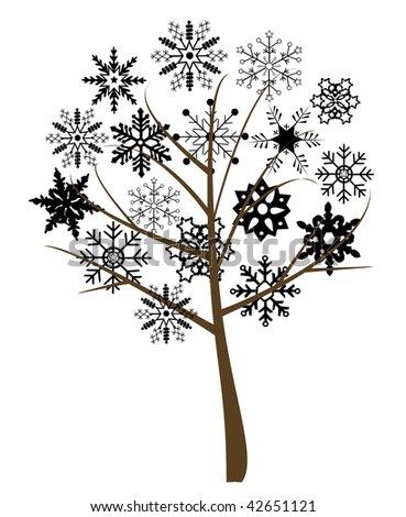 snow tree with black snowflakes - stock vector