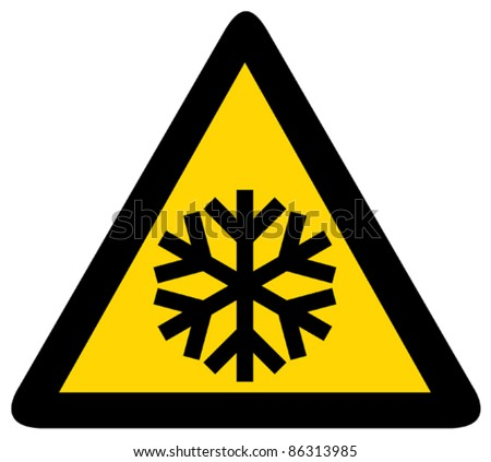 Snow warning sign (Risk of Ice  warning sign) - stock vector