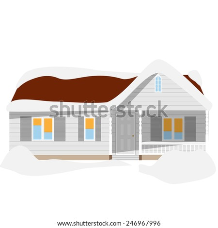 Snow winter house vector icon, cartoon, house with snowdrifts, cottage - stock vector
