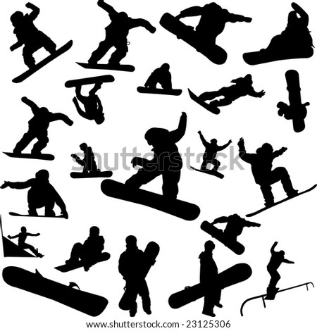 snowboard collection - vector - stock vector