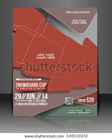 Snowboard Cup Flyer Magazine Cover & Poster Template  - stock vector