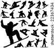 snowboard set vector - stock vector
