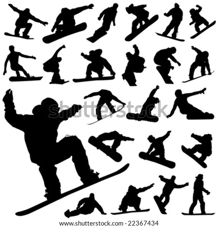 snowboard set vector - stock vector