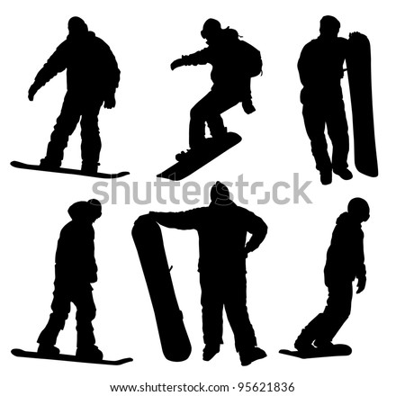 Snowboard silhouettes collection. Vector eps8 - stock vector