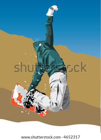 snowboarder is in jump - stock vector
