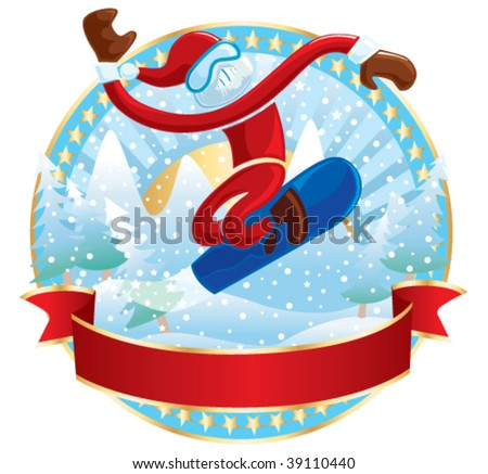 Snowboarder Santa. Vector illustration.