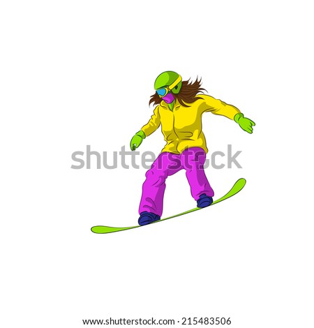 Snowboarder sliding down, female snowboarding, Vector Illustration
