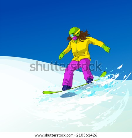 Snowboarder sliding down the hill, female snowboarding on snow mountains slopes, Vector Illustration